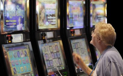 grandmother playing slots